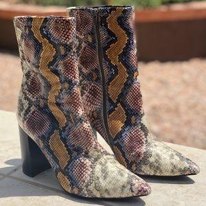 Jeffery Campbell Siren Snakeskin Ankle Booties